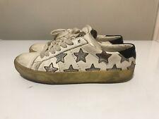 Saint Laurent Court White Leather Silver Star Sneaker Women's 37