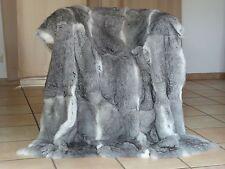 Ein TRAUM! Pelzdecke Chinchilla Farbe KANIN Kaninchen Felldecke NATUR ca 130x180