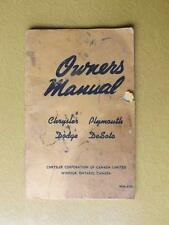 OWNERS MANUAL CHRYSLER CORPORATION CANADA PLYMOUTH DODGE DESOTO CAR REPAIR