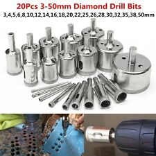 20PCS 3-50mm Diamond Coated Core Hole Saw Drill Bit Set Rotary Tool Marble Glass