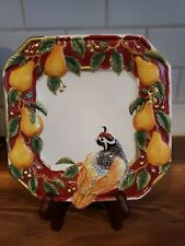 """Vintage Retired~ Fitz And Floyd Partridge 8"""" Canape Plate Handcrafted Mint"""