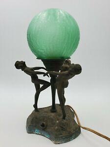 Vintage Art Deco Lamp With Original Green Globe 3 Nude Dancing Ladies Works