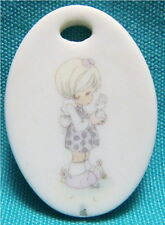 1987 Precious Moments Miniature Oval Ornament Girl Holding Bunny Rabbit Graphic