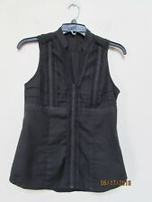 Women size XS EXPRESS Essential Stretch Black Blouse V-Neck Cleavage Career KM