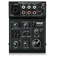 Pyle 3-Channel USB Audio/Sound Mixer Recording Interface, Rechargeable Battery