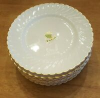 "Viking Syracuse 10 Salad Plates  Gold Trim 9"" Scalloped Green Ship Vintage"