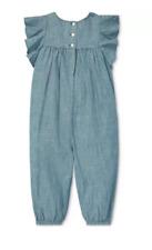 Polo Ralph Lauren Baby Girls Ruffled Chambray Cotton Romper - 24 Months - Blue