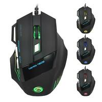 5 X Computer Gaming Mouse DPI 7 Button USB LED Light Optical Wired Mice