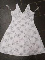 NEW LOOK BLACK WHITE FLORAL SUMMER DRESS EMBROIDERED SIZE 16