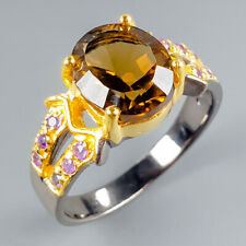 Handmade Natural Citrine Quartz 925 Sterling Silver Ring Size 8/R116702