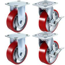 4 Pack Heavy Duty Caster Set 6 Polyurethane On Cast Iron Wheels No Mark Red