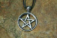 Set Anhänger Pentagramm Silber + Lederband Amulett Sterlingsilber Magie