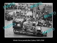 OLD LARGE HISTORIC PHOTO OF WIRTHS CIRCUS ELEPHANT PARADE FLOAT, SYDNEY c1938 2
