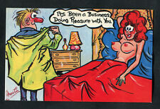 C1970s Comic Card: Lady in Bed & Man Dressing: Been Business Doing Pleasure