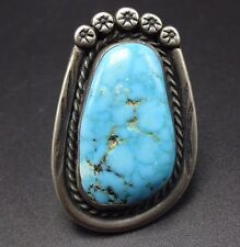 Huge 15.4g Vintage NAVAJO Sterling Silver & Water Web TURQUOISE RING, size 8