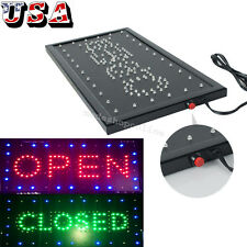 "Bright Led Neon 2-in-1 Open&Close Store Shop Business Sign 9.8*20"" Display Light"
