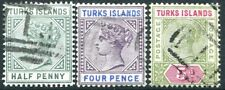 TURKS ISLANDS-1893-95 Set of 3 Values Sg 70-72  FINE USED V24016
