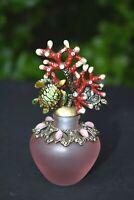 Perfume Bottle PINK GLASS w Enamel Red Sea Fan & Green Turtles & Rhinestones
