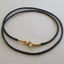 """Necklace Cord for pendant Necklace Black Satin handmade  20"""" Gold plated"""
