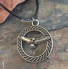 Antique Silver Plt Celtic Dove Bird of Peace Pendant Necklace Viking Norse