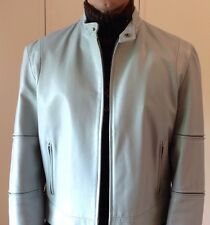 Cost $950 CONBIPEL Mens Sky Blue Real Leather Jacket  - Made In Italy - Size L