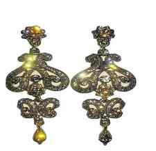 Silver Victorian Style Chandelier Fashion Earrings Pink Grey Crystal Studded New