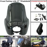 """Motorcycle Front Headlight Fairing w/ 15"""" Windshield For Harley Dyna Wide Glide"""