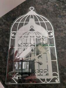 Tealight Holder Glass Mirror , Bird Cage Design Holds 2 Tealights