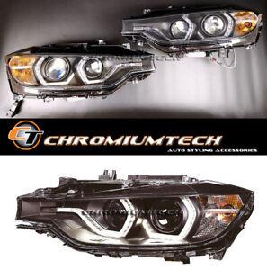 2011-15 Pre-Facelift BMW F30 F31 Black Projector U-Type LED DRL Headlights RHD