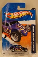 Custom Volkswagen Beetle 2011 Hot Wheels Heat Fleet '11 Blue w/Flames Vw Bug