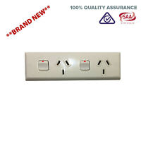 Skirting 10A AMP Double 3 Pin Power Point Outlet Socket GPO Narrow DGPO