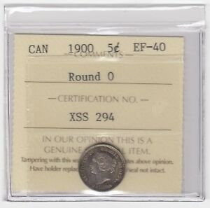 1900 Canada Round 0 5 Cents Silver Coin - ICCS EF-40