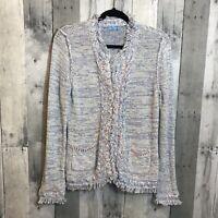 J McLaughlin Size Medium M Knit Frayed Hem Zip Up Sweater Jacket Blazer