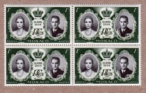 Royalty - Princess Grace, Rainier III - WEDDING - 1956 MNH BLOCK OF 4 MONACO q50