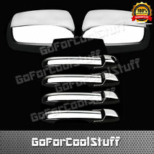 For Honda Pilot 03-08 4Drs Handle W/Out Pskh+Full Mirror 2Pc Chrome Covers