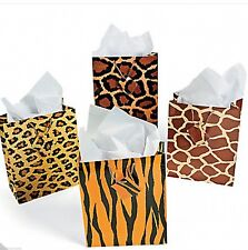 Set of 12 Animal Print Safari Medium Gift Bags Birthday Party Favors