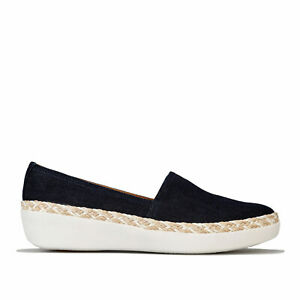 Fit Flop Womens Casa Denim Loafers in Denim Blue and White