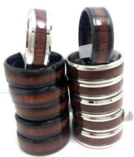 wholesale 12Pcs Wood Simple Band Mens Women Jewelry Stainless steel Rings