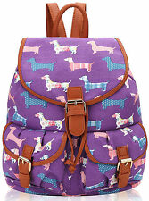 Girls Dachshund Dog Canvas Backpack Rucksack School bag College Shoulder Bag