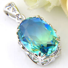 Holiday Gift Rectangle London Blue Topaz Gemstone Silver Necklace Pendant 1 5/8""