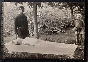1920 Funeral Post Mortem Death Boys near dead young man guy Soviet antique photo