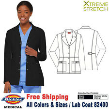 Dickies Scrubs Xtreme Stretch Women's Fashion Snap Front 28 Inch Lab Coat 82400