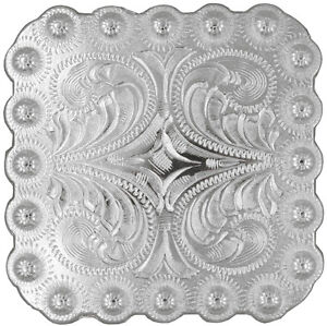 """WESTERN SADDLE HORN CAP BRIGHT SILVER BERRY SQUARE CONCHO 2-1/4"""" SCREW BACK"""