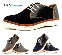 Mens Casual Lace Up Canvas Shoes JAS Fashion Suede Trainers Black Smart Size UK