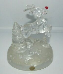 Cristal d'Arques France Rudolph the Red Nosed Reindeer Musical Figurine Christma