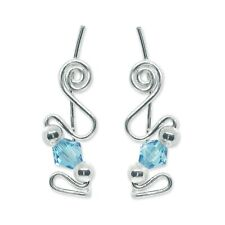 Ear Sweeps Pins Climbers Vines Earring Silver with Aquamarine Crystal 241