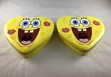 """SPONGE BOB SQUAREPANTS HEART SHAPE TIN BOX Lot of 2  6"""" X 7"""""""