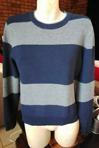 TRENERY BOYS / TEEN NAVY AND GREY STRIPED 100% WOOL WARM THICK JUMPER SIZE M.