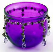 T-Light Candle Holder Purple Glass