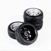 12mm Hex Wheel Rims & 4PCS 1:10 Rubber Tires Fit HSP HPI RC on-road Racing car